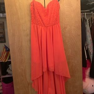 deb dress in coral pink